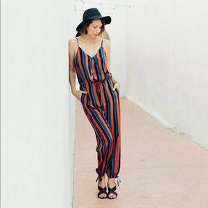 Madewell x No 6 Silk Playa Cami Striped Jumpsuit